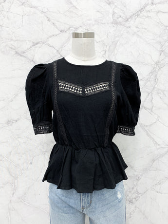 McKinnon Lace Cinched Top in Black