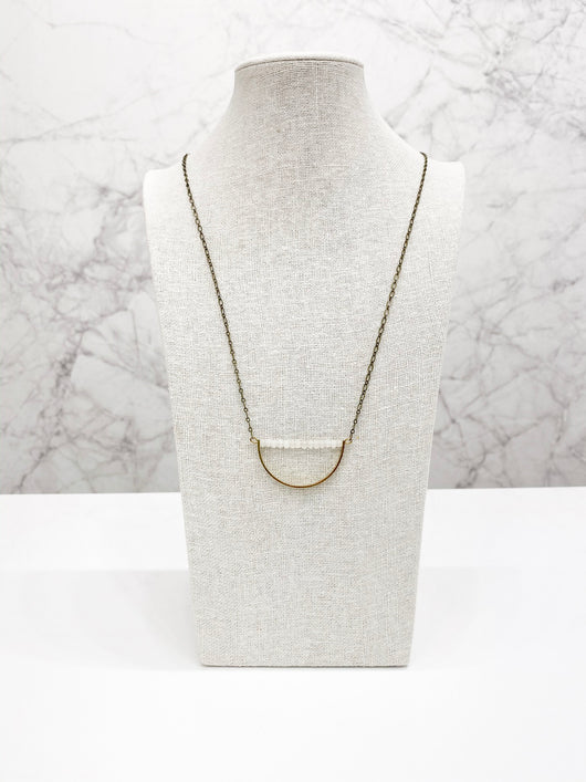 Harper Necklace in Moonstone Jade by Bloom + Thistle