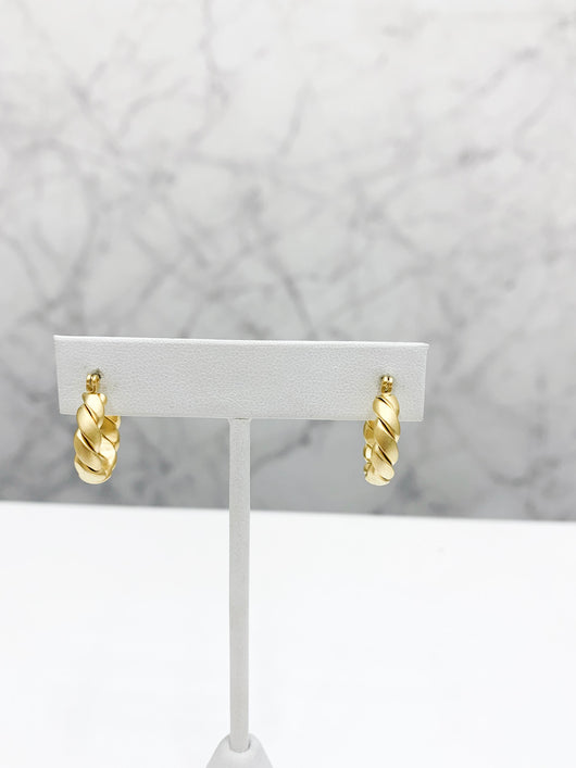 Tiny Twisted Hoops in Gold
