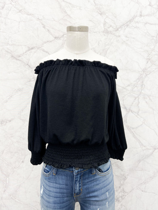 Caitriona Off the Shoulder Knit Top in Black