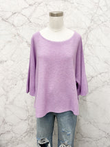 Samberg Knit Short Sleeve Sweater  in Lavender