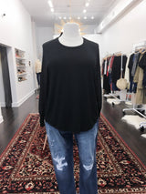 Button-Back Blouse in Black