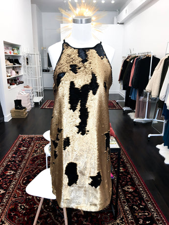 Sophia Sequin Dress in Black and Gold