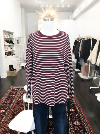 Arthur Top in Burgundy Stripes