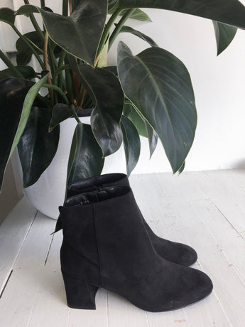 Daria Block Heel Bootie in Black Suede