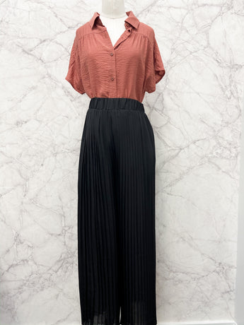 Kimberly Pleated Palazzo Pants in Black