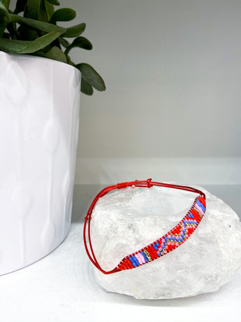 Beaded Bracelet in Red Multi