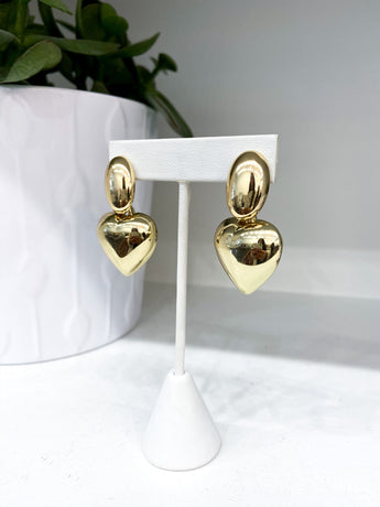 Large Heart Earrings in Gold