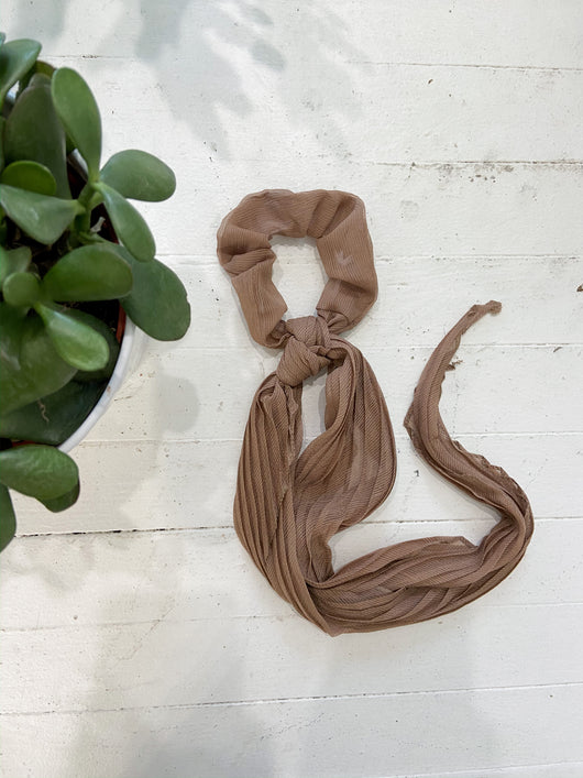 Pleated Solid Scarf Scrunchies in Taupe