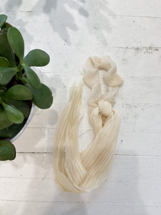 Pleated Solid Scarf Scrunchies in Ivory