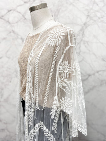 Lace Coverup in White