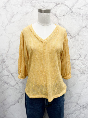 Collins V-Neck Pullover in Golden Apricot