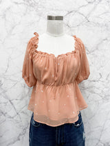 Corrine Peplum Top in Cantaloupe