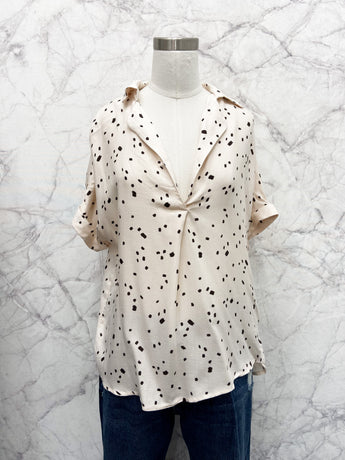 Jeannie Woven Button Down Top in Cream and Black Print