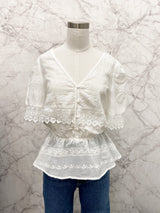 Lincoln Eyelet Crochet Button Top