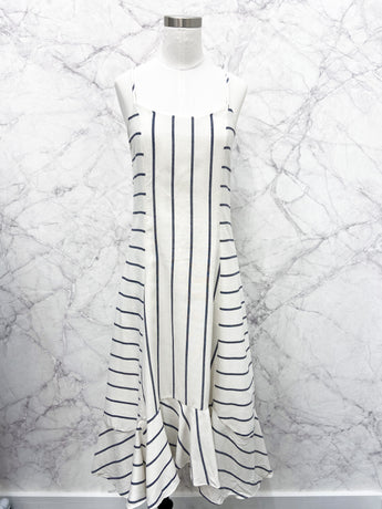 Angie Stripe Woven Dress in Off-White