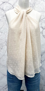 Nick Chiffon Swissdot Tank in Cream
