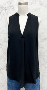 Toby Collared V-Neck Back Wrap in Black