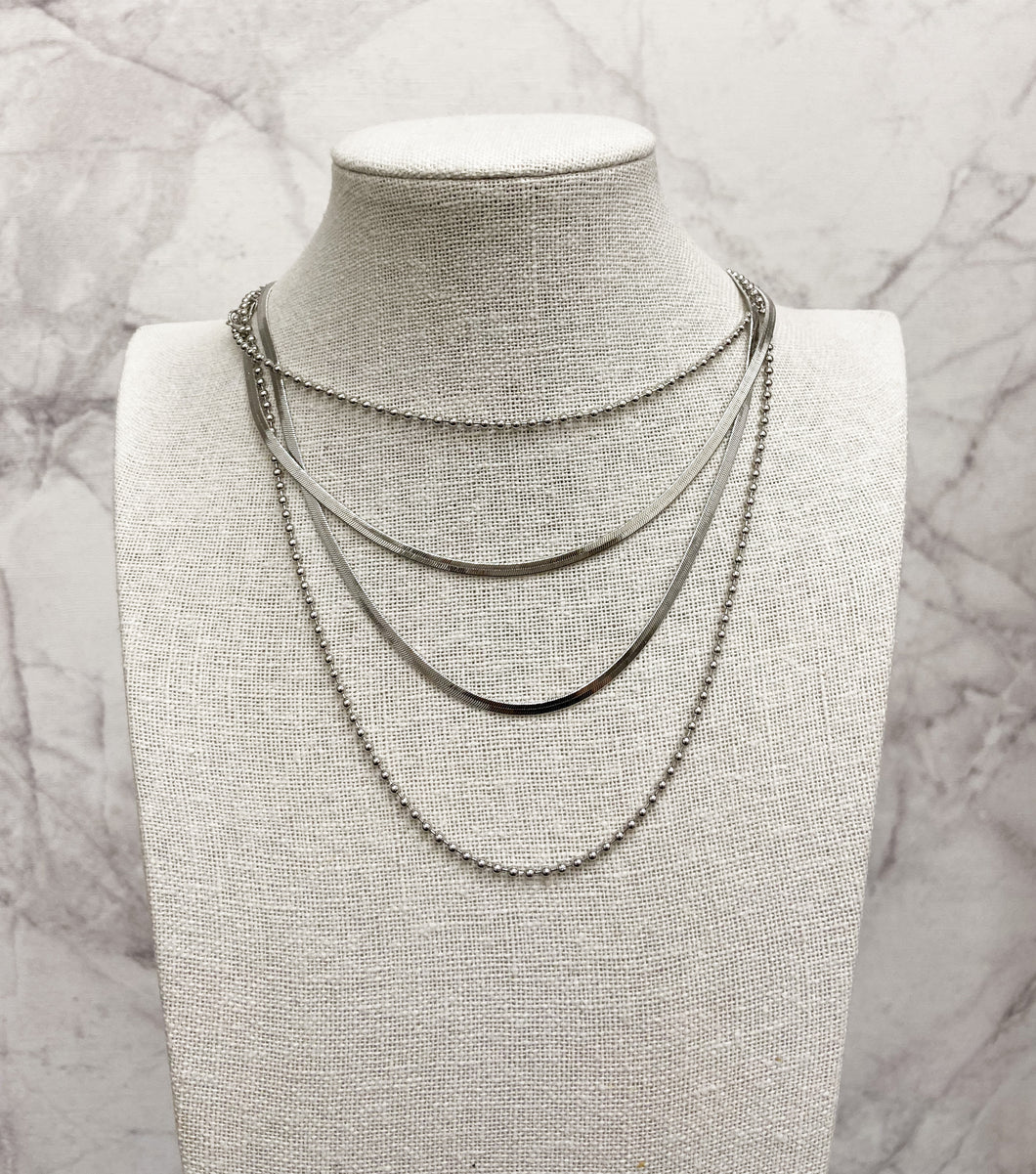 Double Snake and Beaded Chain Necklace Set in Silver