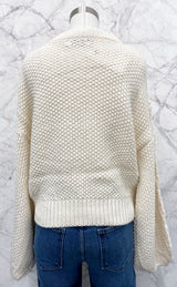Houston Cable Knit Sweater in Cream