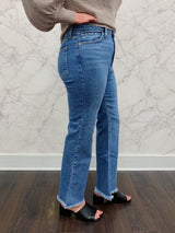 Addison High Rise Frayed Cropped Flare Jeans