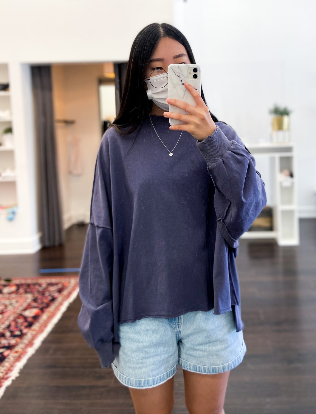 Everson Top in Slate Blue
