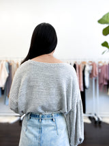 Mason Striped Sweater with Balloon Sleeves in Gray