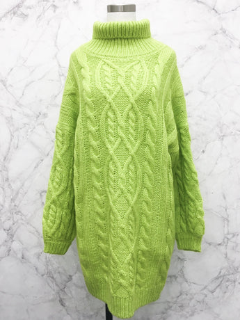 DeVille Sweater Dress in Lime