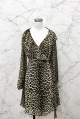 Power Wrap Dress in Leopard Ruffles