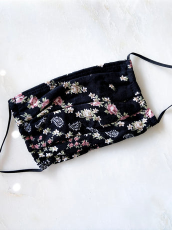 Fabric Face Mask - Black Floral Print