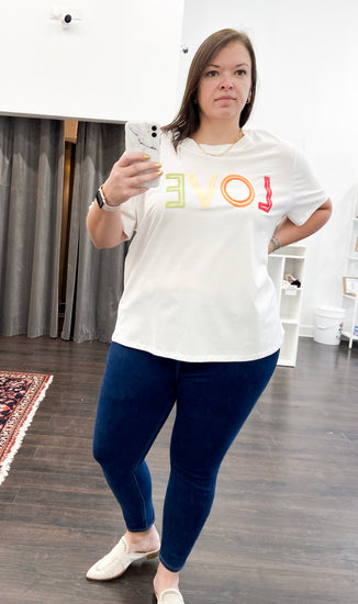 Rainbow Love Tee in Off White