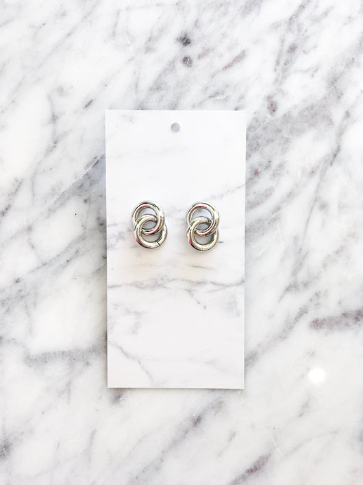 Taiwan Double Circle Earrings in Silver