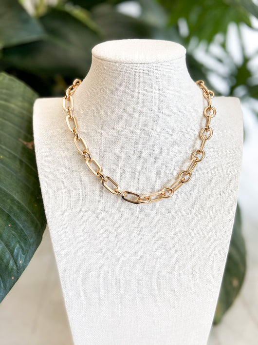 Laura Chain Link Choker in Gold