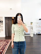 Charles Button Down Sweater in Mint