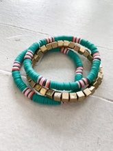 Load image into Gallery viewer, Teal Vinyl Bracelet Set
