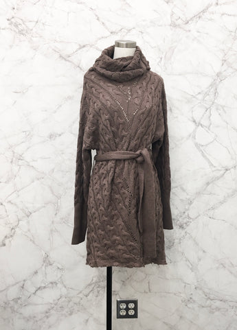 Marlessa Cable Knit Sweater Dress in Mocha - FINAL SALE