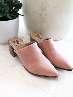 Stephanie Block Heel Mules in Blush