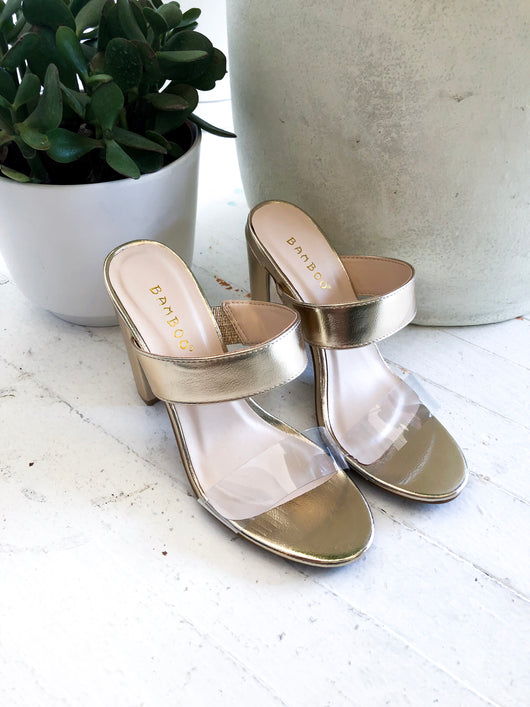 Mania Block Heels in Gold - FINAL SALE