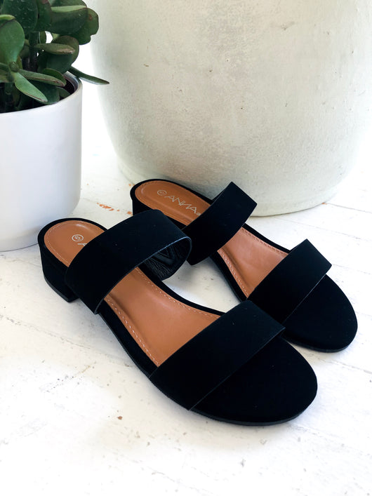 Adela Two-Strap Sandal in Black