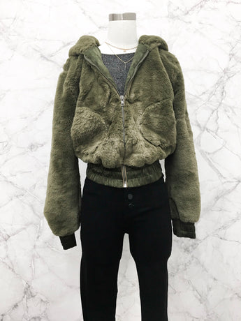 Megan Faux Fur Bomber in Olive