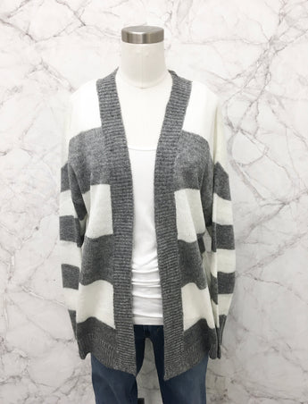Jewel Cardigan in Grey Stripe
