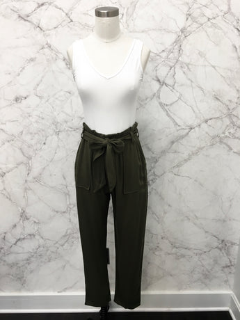 Gemma Paper Bag Pants in Olive - FINAL SALE