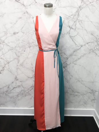 Circus Wrap Dress in Coral