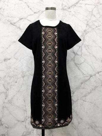 Hannah Embroidered Dress in Black Faux Suede - FINAL SALE