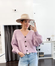 Load image into Gallery viewer, Lily V-Neck Knit Cardigan in Lavender - FINAL SALE