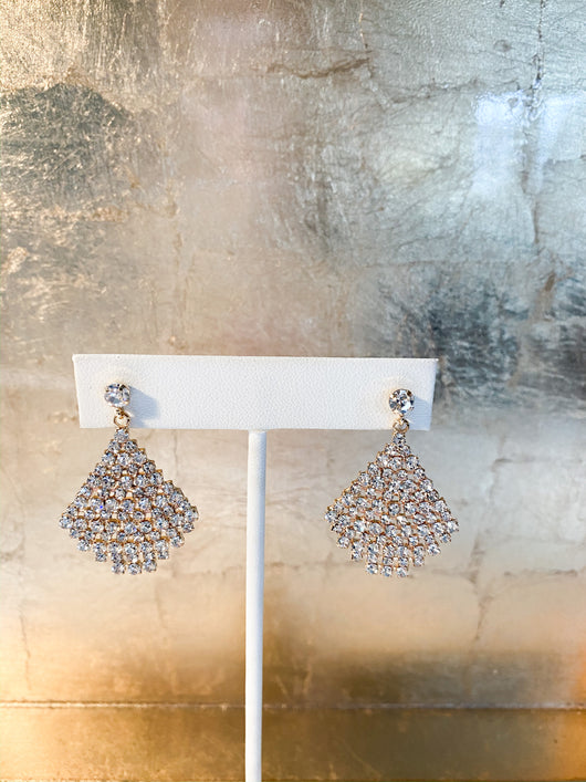 Elle Earrings in Rhinestone & Gold