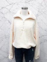 Ricki Half-Zip Jacket in Cream - FINAL SALE