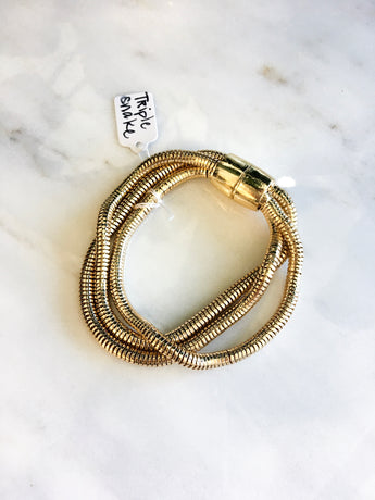 Triple Snake Magnetic Clasp Bracelet in Gold