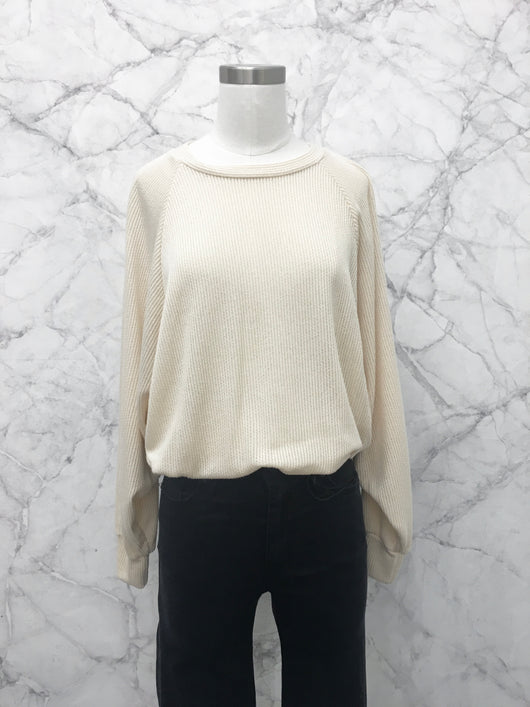 Cody Ribbed Top in Ivory