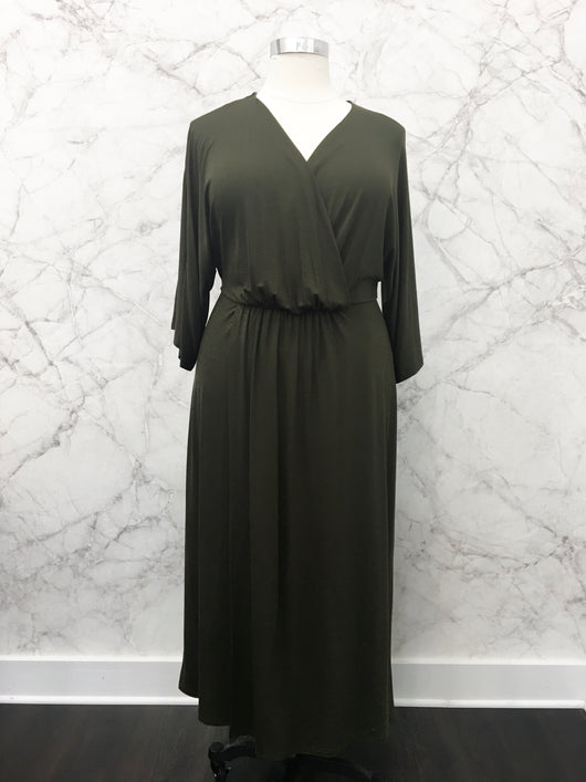 Erica Wrap Dress in Olive